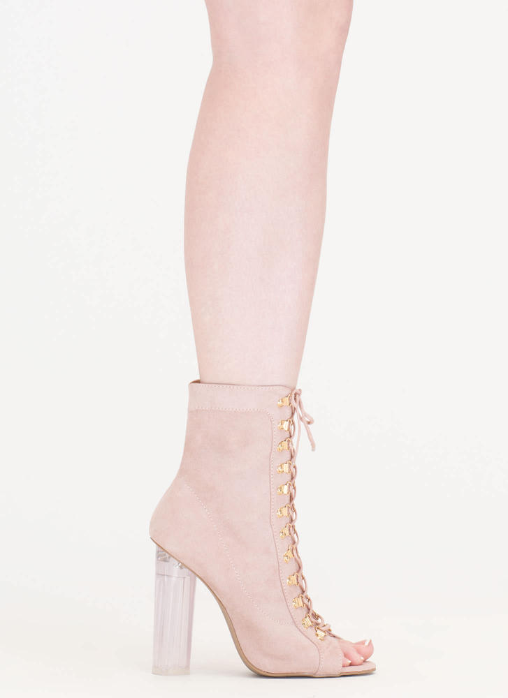 Cylinder Chic Chunky Lucite Booties NUDE