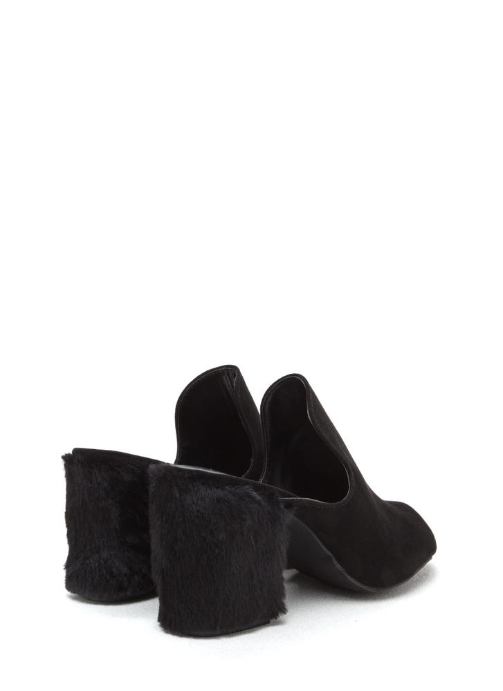 Fur Your Own Good Chunky Mules BLACK