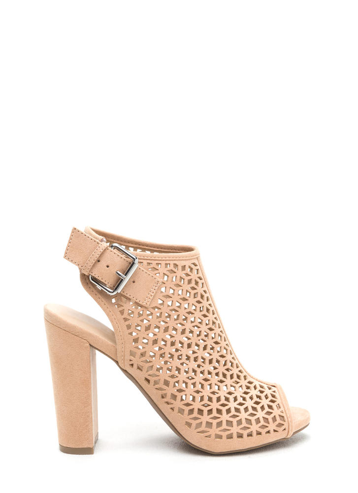 Laser Focus Latticed Chunky Heels