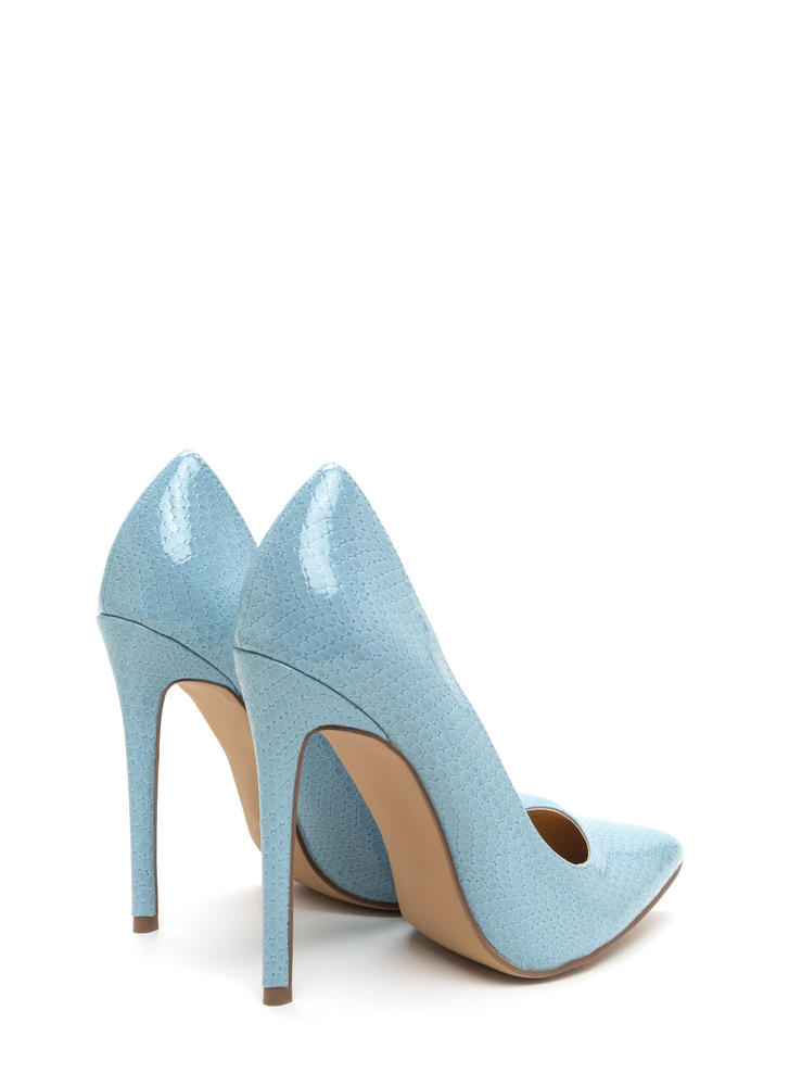 Snake A Look Pointy Heels LTBLUE