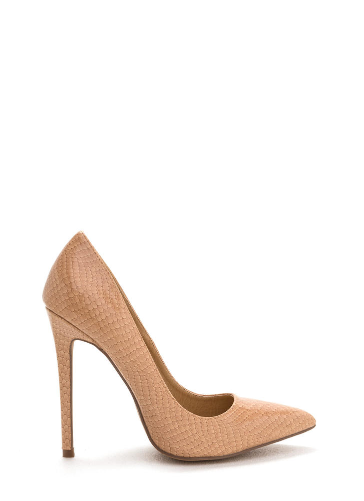 Snake A Look Pointy Heels NUDE