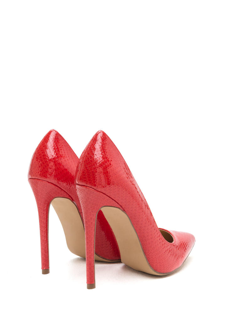 Snake A Look Pointy Heels RED