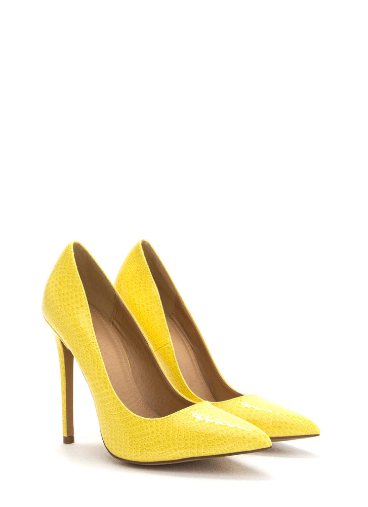 Snake A Look Pointy Heels YELLOW