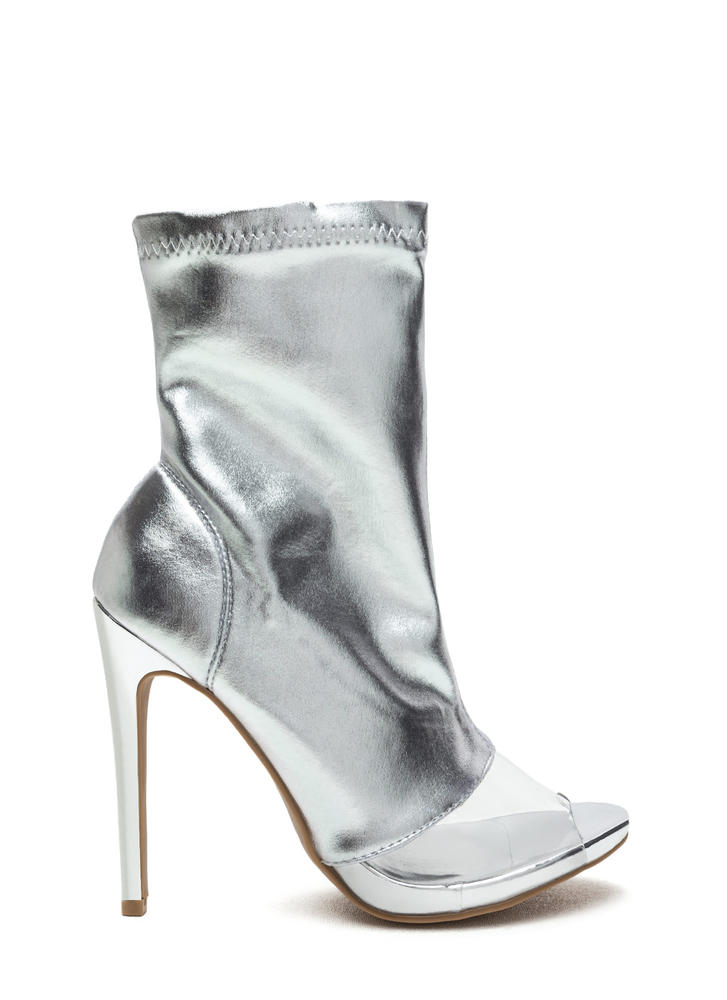 Clear Winner Metallic Peep-Toe Booties