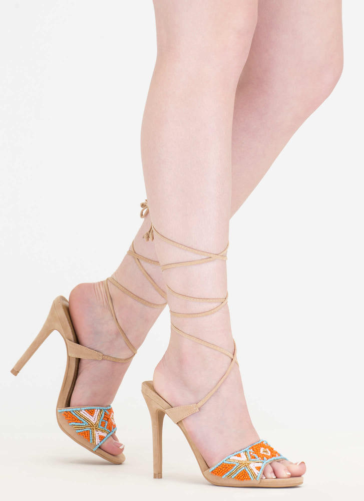 Bead You To It Tribal Lace-Up Heels NUDE