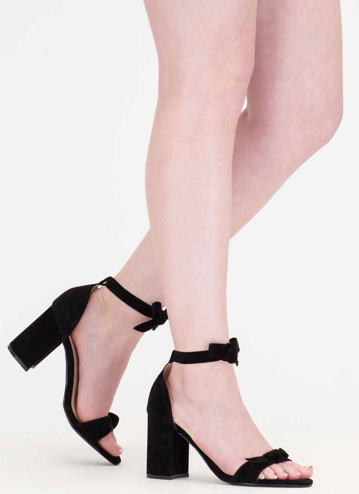 Bow My Goodness Faux Suede Block Heels BLACK