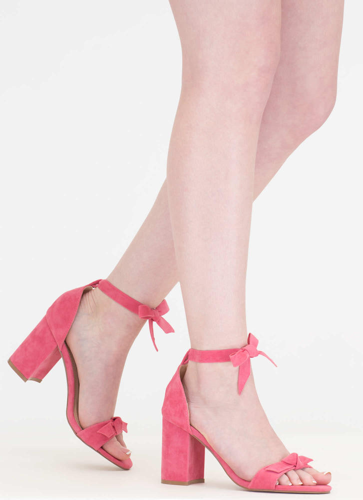 Bow My Goodness Faux Suede Block Heels