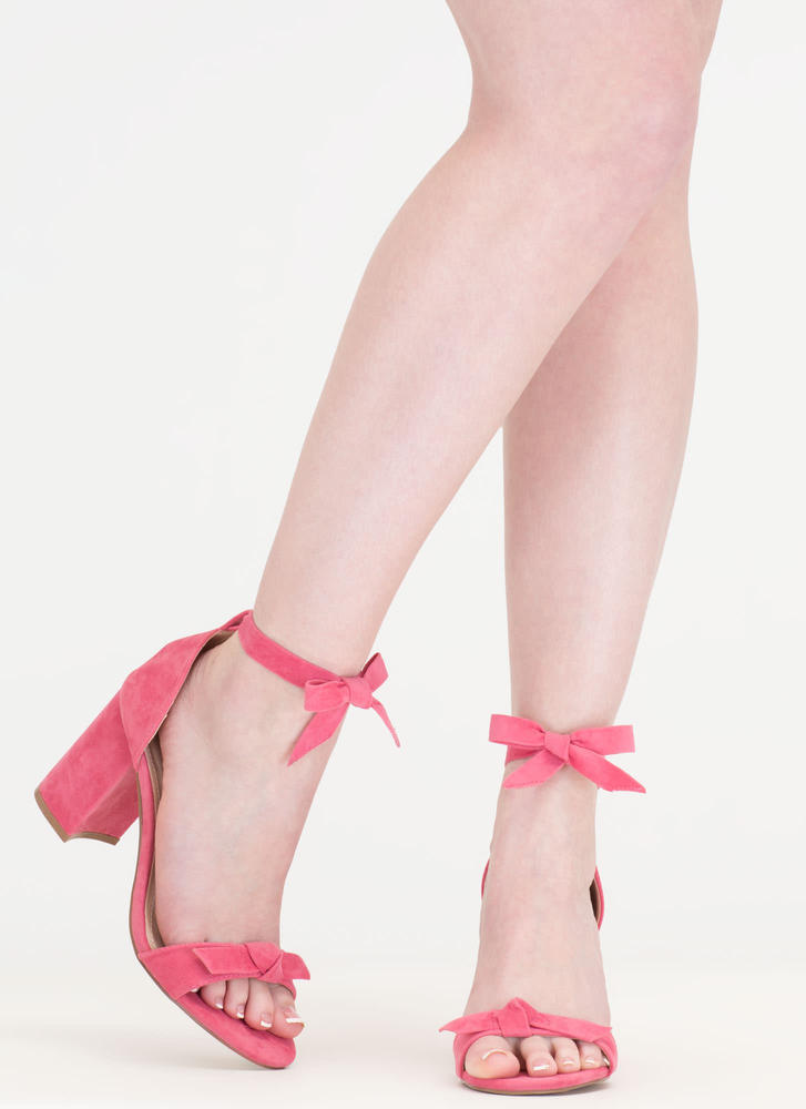 Bow My Goodness Faux Suede Block Heels CORAL