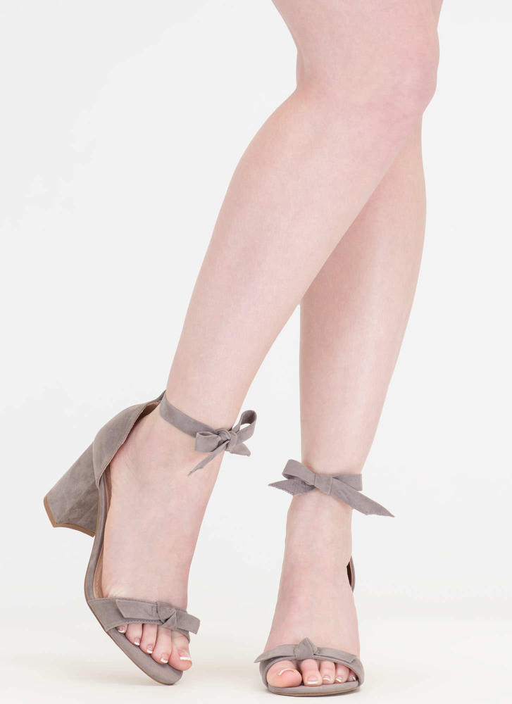 Bow My Goodness Faux Suede Block Heels GREY