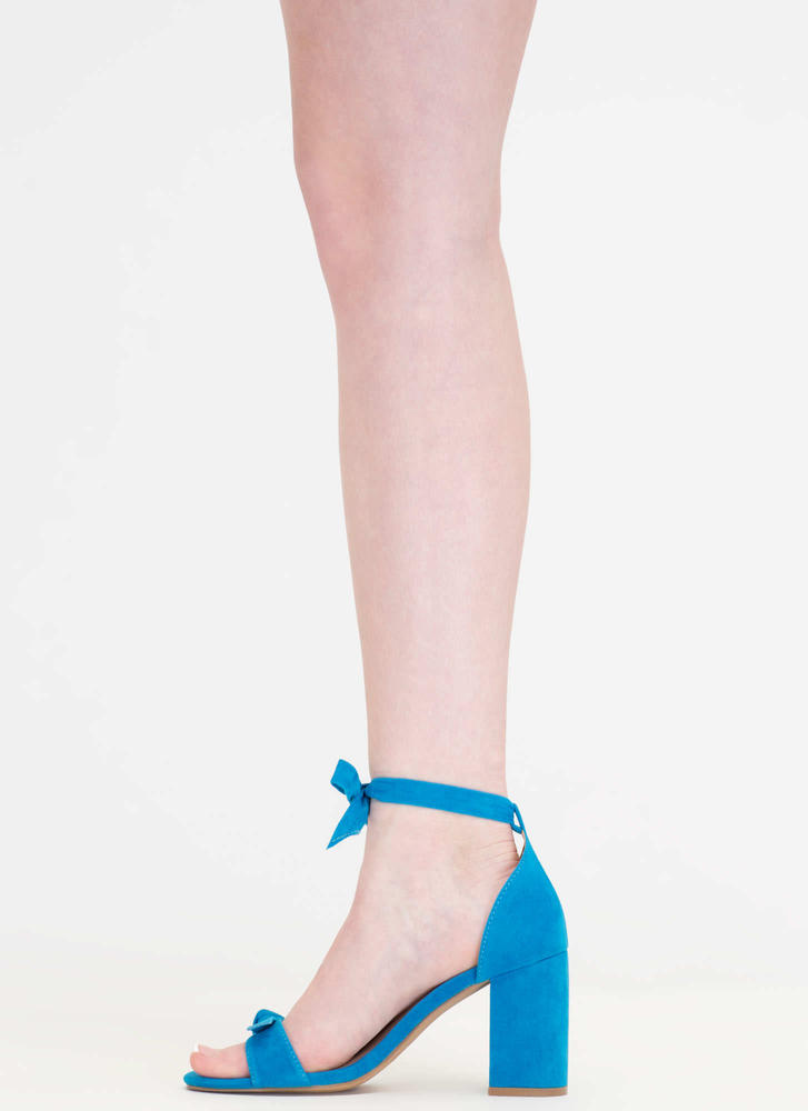 Bow My Goodness Faux Suede Block Heels TURQUOISE