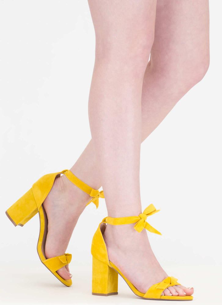 Bow My Goodness Faux Suede Block Heels YELLOW