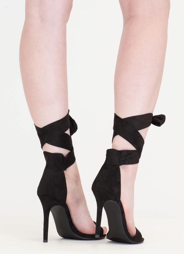 Turn The Tied Faux Suede Lace-Up Heels BLACK