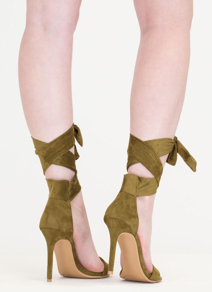 Turn The Tied Faux Suede Lace-Up Heels KHAKI