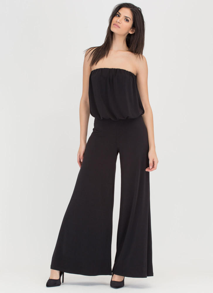 Wide Hot Strapless Palazzo Jumpsuit