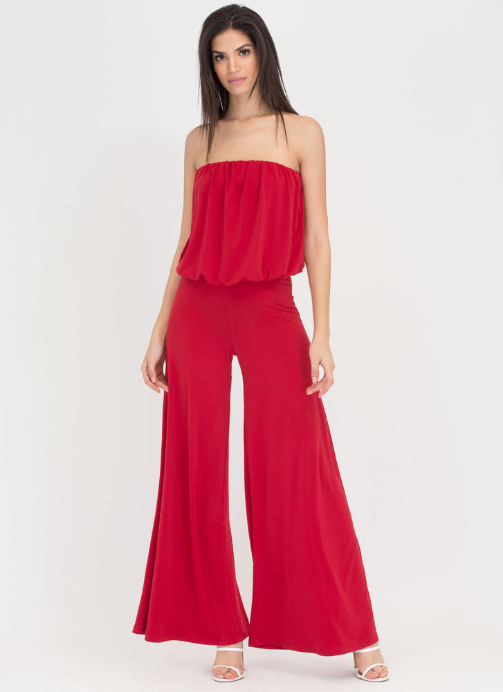 Wide Hot Strapless Palazzo Jumpsuit RED