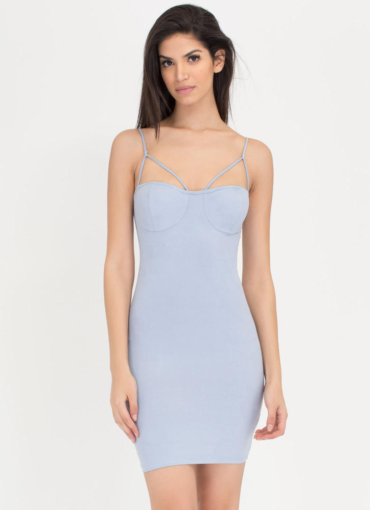 So Busted Strappy Faux Suede Dress BLUE
