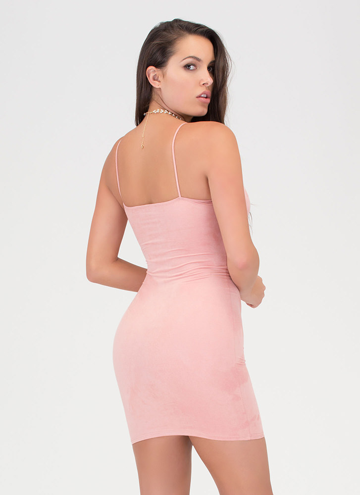 So Busted Strappy Faux Suede Dress MAUVE