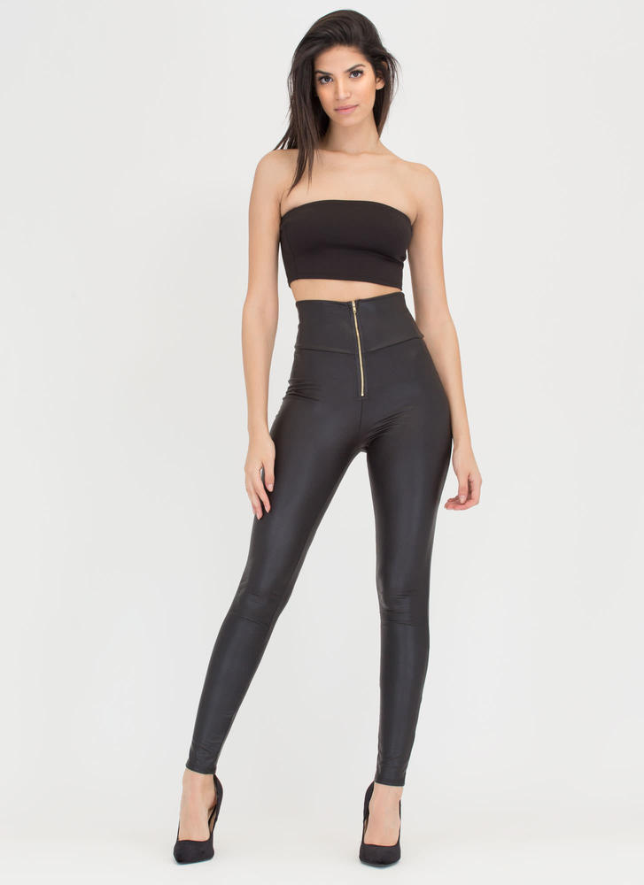 Zip Me Into Shape Faux Leather Leggings BLACK