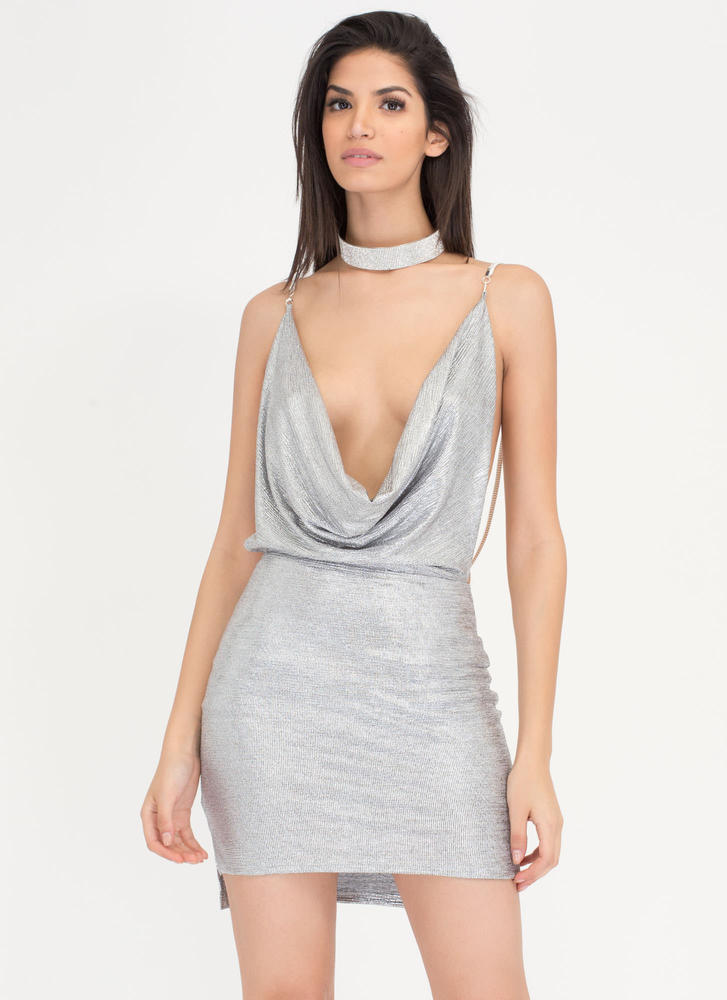 Glam Event Plunging Metallic Chain Dress SILVER
