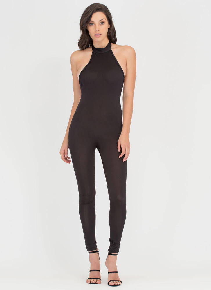Tied To The Finish Mockneck Jumpsuit BLACK