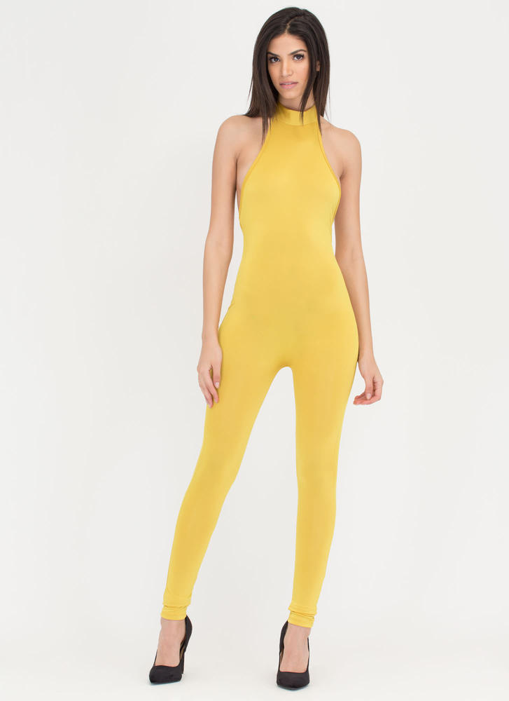 Tied To The Finish Mockneck Jumpsuit MUSTARD