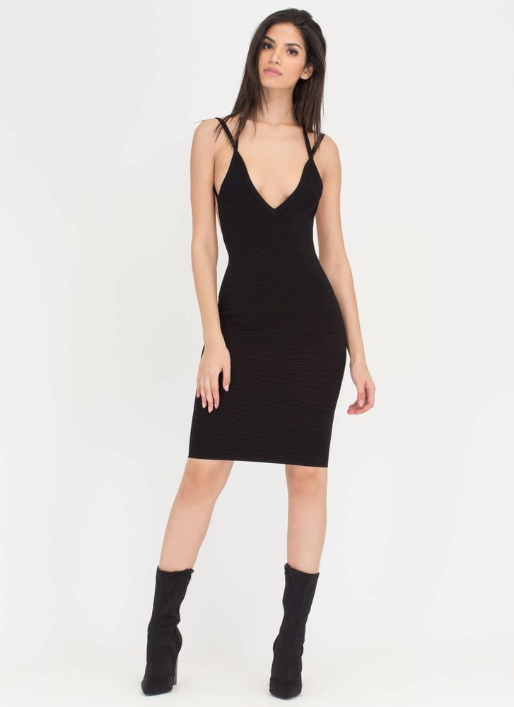Out In The Open Back Ribbed Midi Dress BLACK