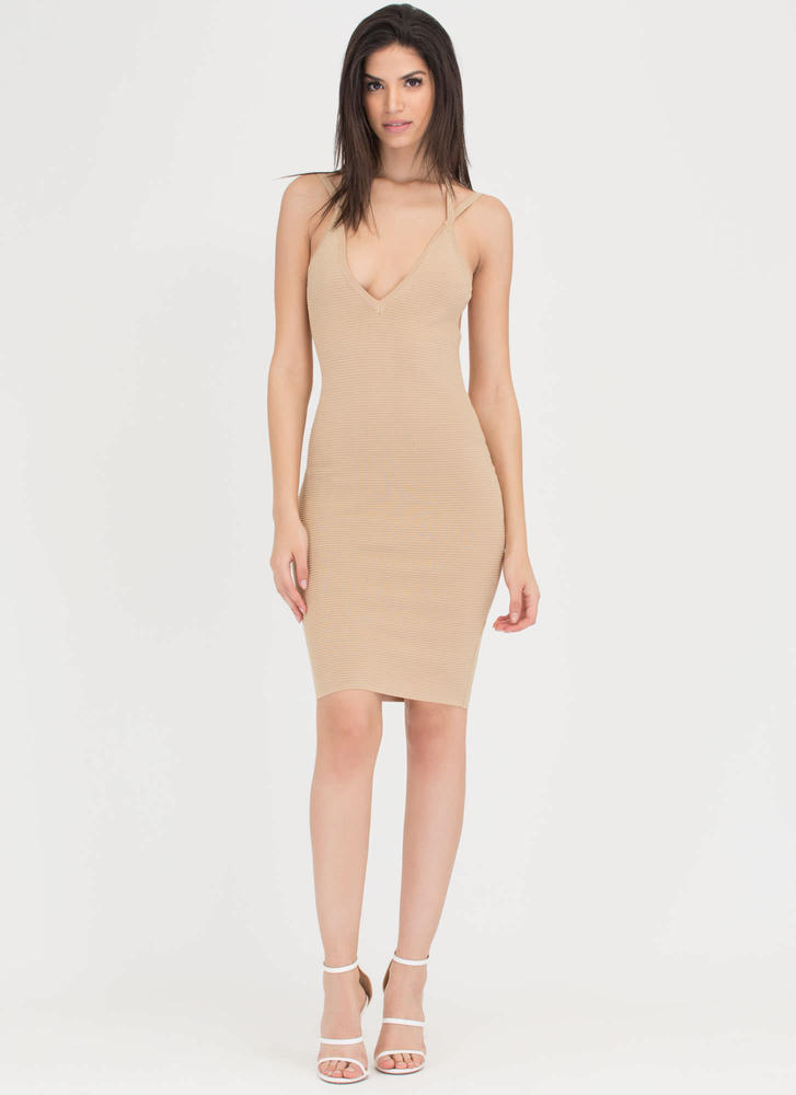 Out In The Open Back Ribbed Midi Dress