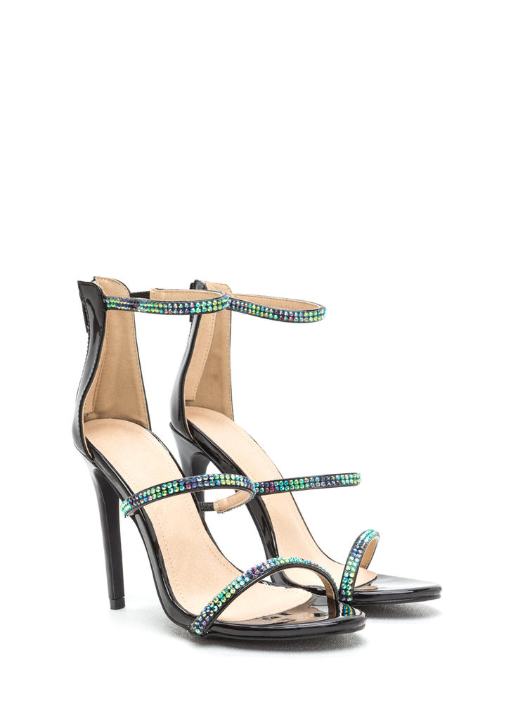 Jewel Thief Strappy Faux Patent Heels BLACK