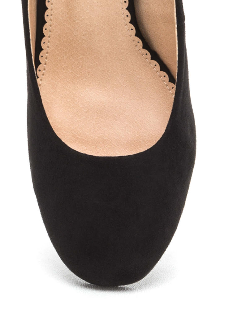 Chunky Chic Faux Suede Block Heels BLACK