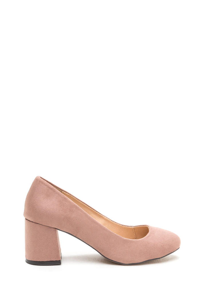 Chunky Chic Faux Suede Block Heels