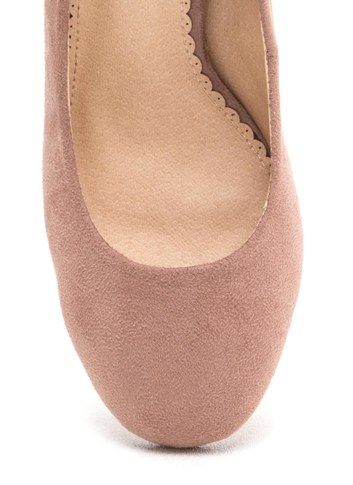 Chunky Chic Faux Suede Block Heels MAUVE