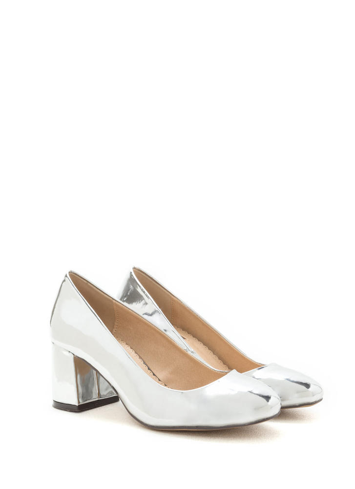 Chunky Chic Faux Patent Block Heels SILVER