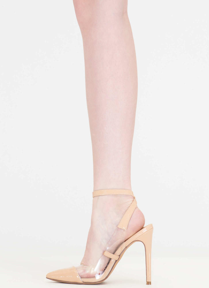 Clear Your Game Pointy Faux Patent Heels NUDE