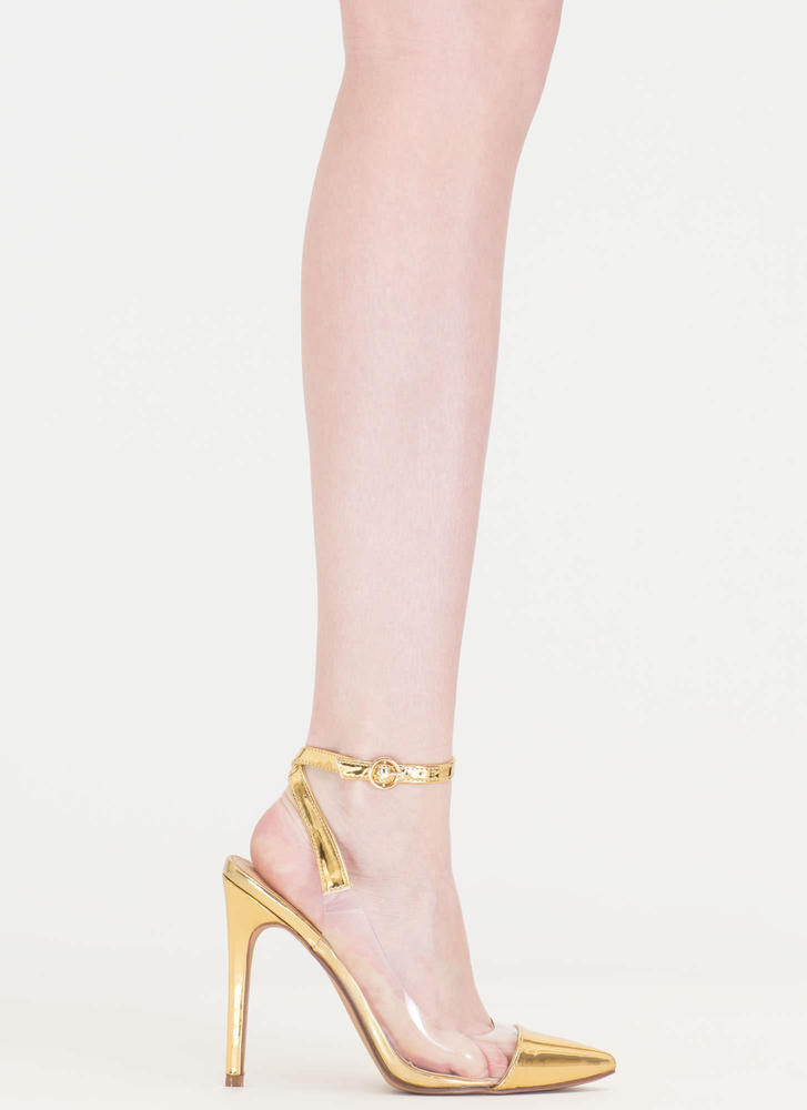 Clear Your Game Pointy Metallic Heels GOLD