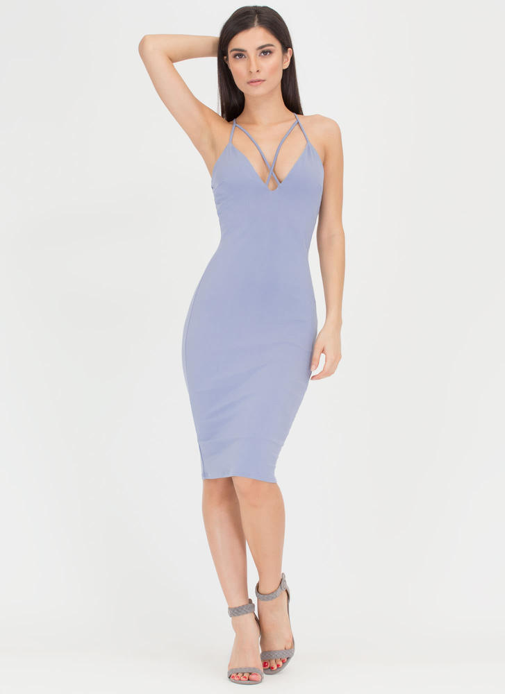 Double Crisscross Bodycon Midi Dress BLUE