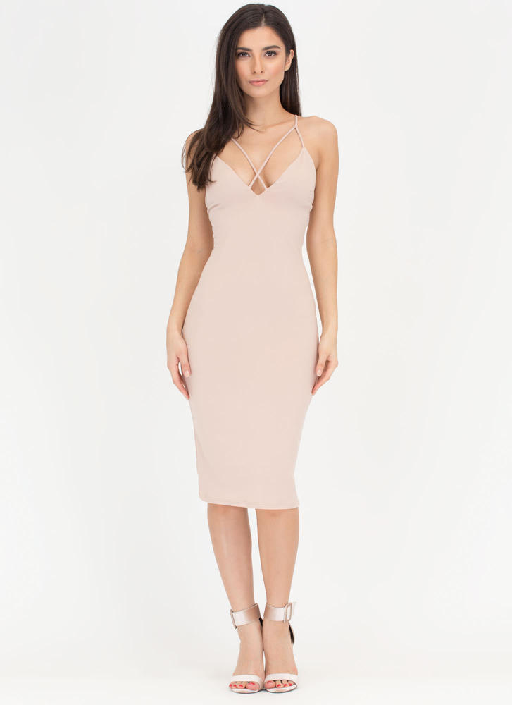 Double Crisscross Bodycon Midi Dress TAUPE