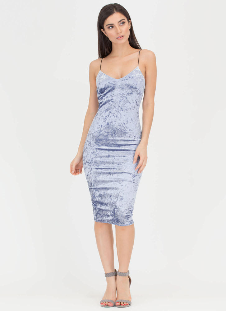 Crushin' It Velvet Cami Midi Dress BABYBLUE
