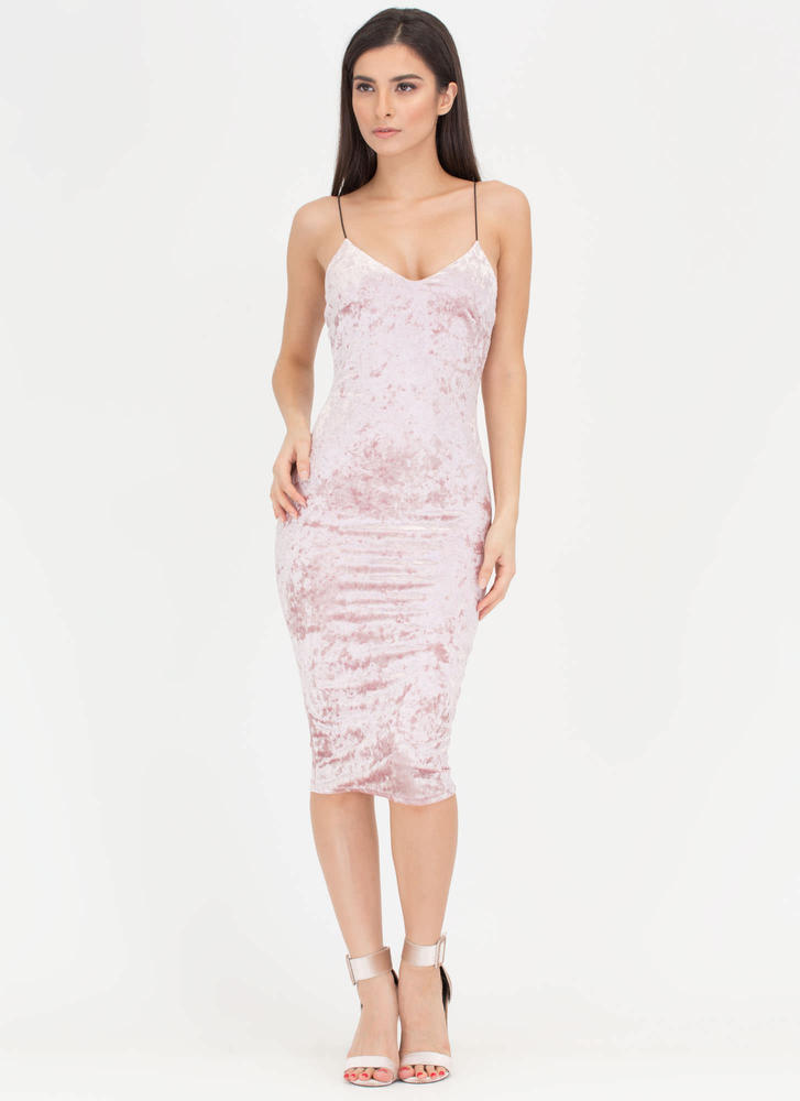 Crushin' It Velvet Cami Midi Dress MAUVE