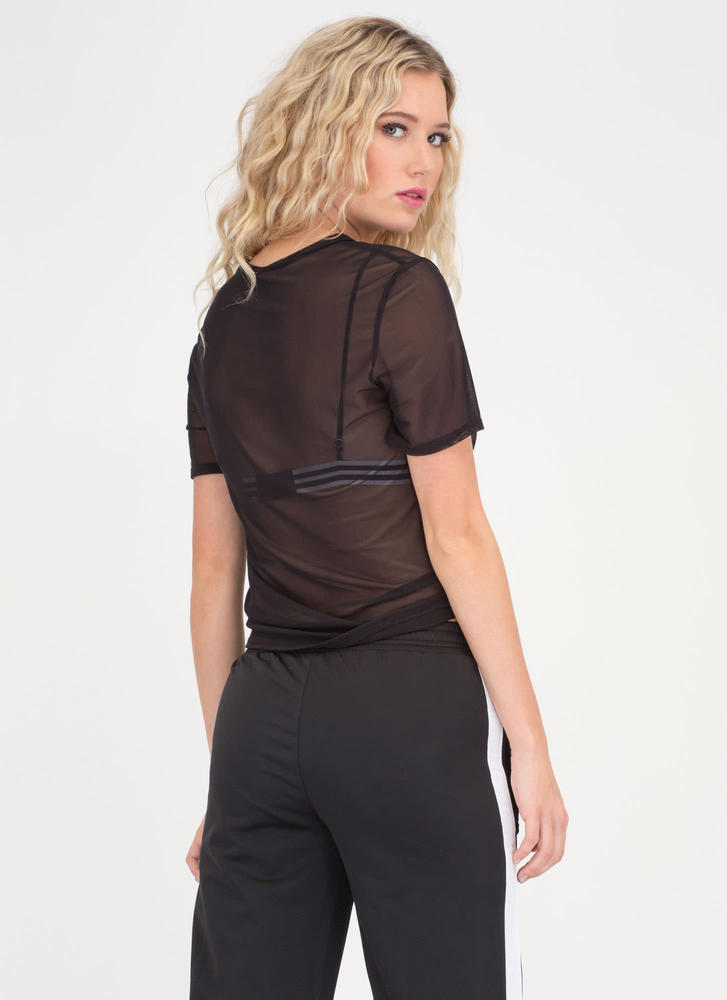 Knotty Choice Sheer Mesh Tee BLACK