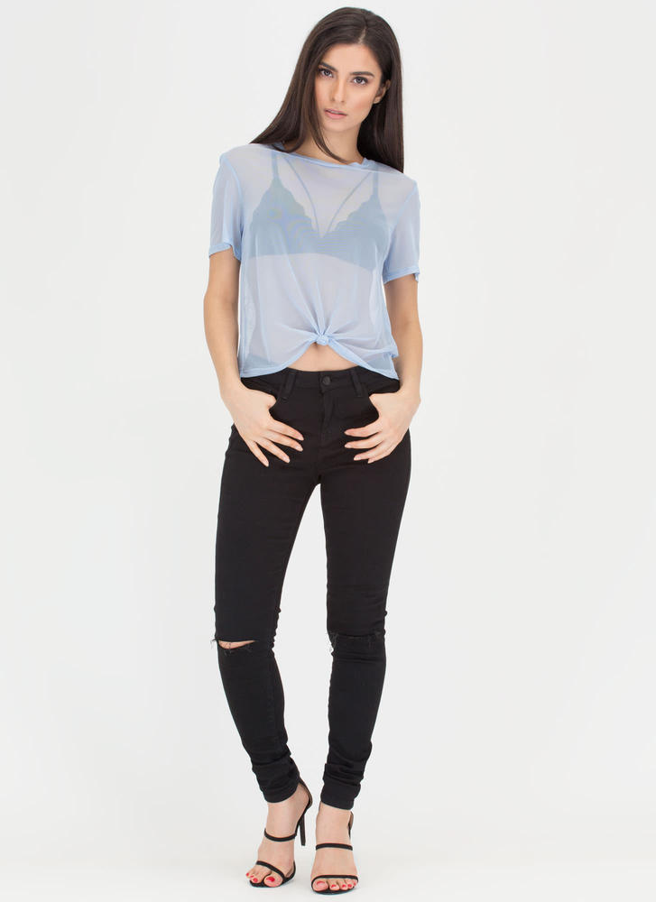 Knotty Choice Sheer Mesh Tee BLUE