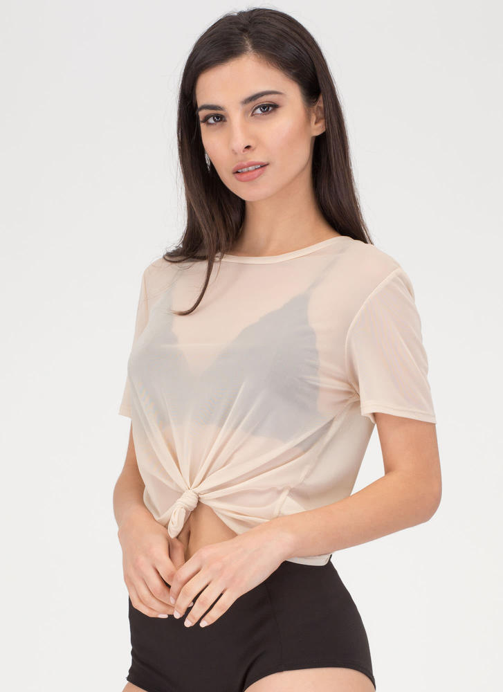 Knotty Choice Sheer Mesh Tee KHAKI