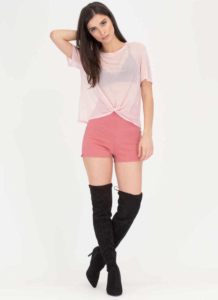 Knotty Choice Sheer Mesh Tee PINK