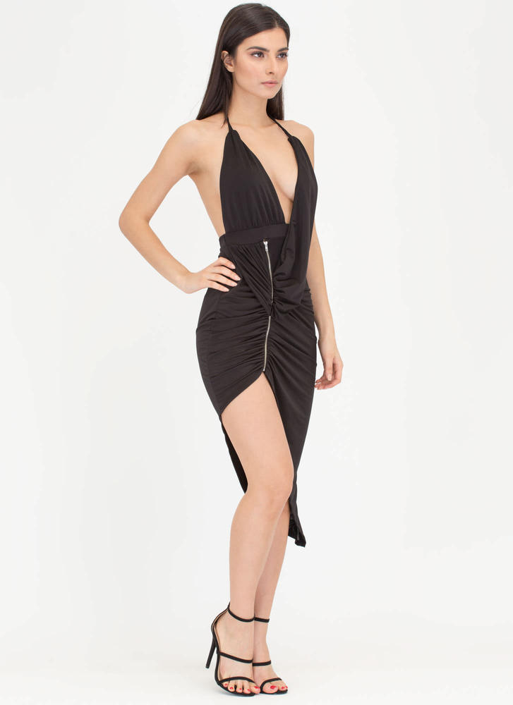 Hot Zip Ruched High-Low Halter Dress BLACK