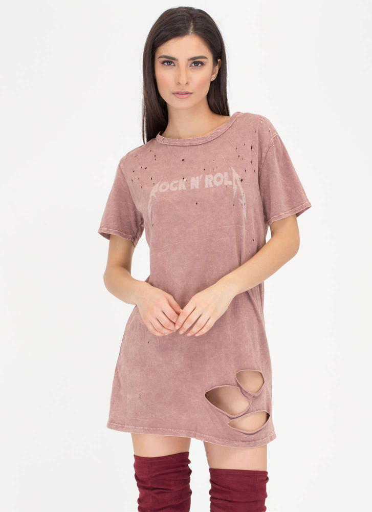 Stage Presence Distressed Tee Dress MAUVE