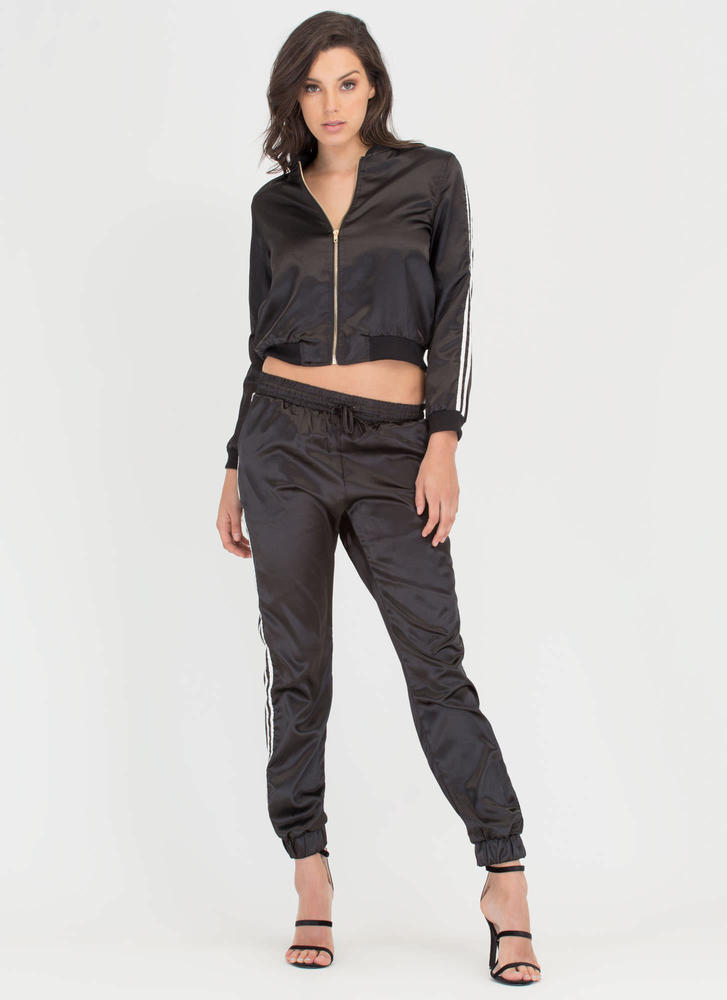 Luxe Athleisure Striped Satin Tracksuit BLACK