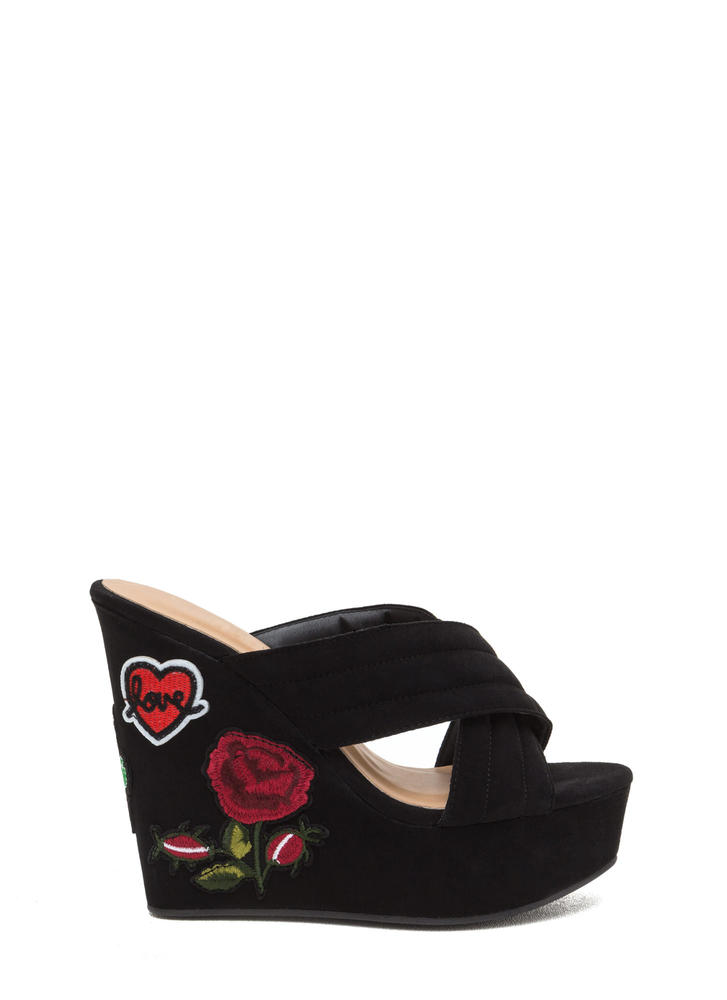Patch Me In Faux Suede Platform Wedges