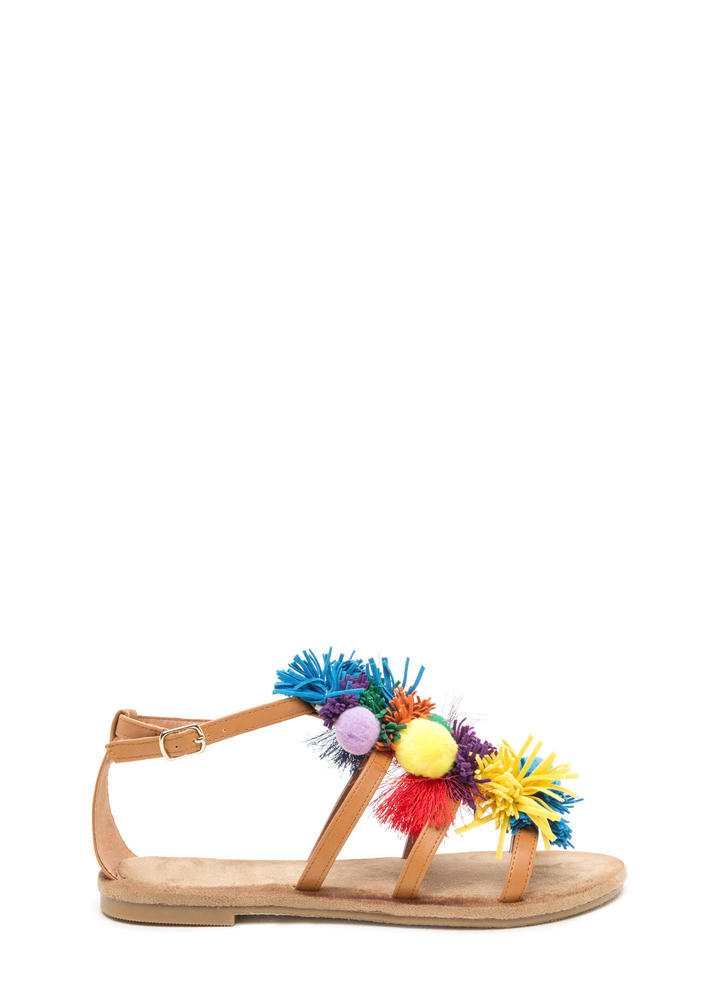 Pom-Pom Party Strappy Caged Sandals
