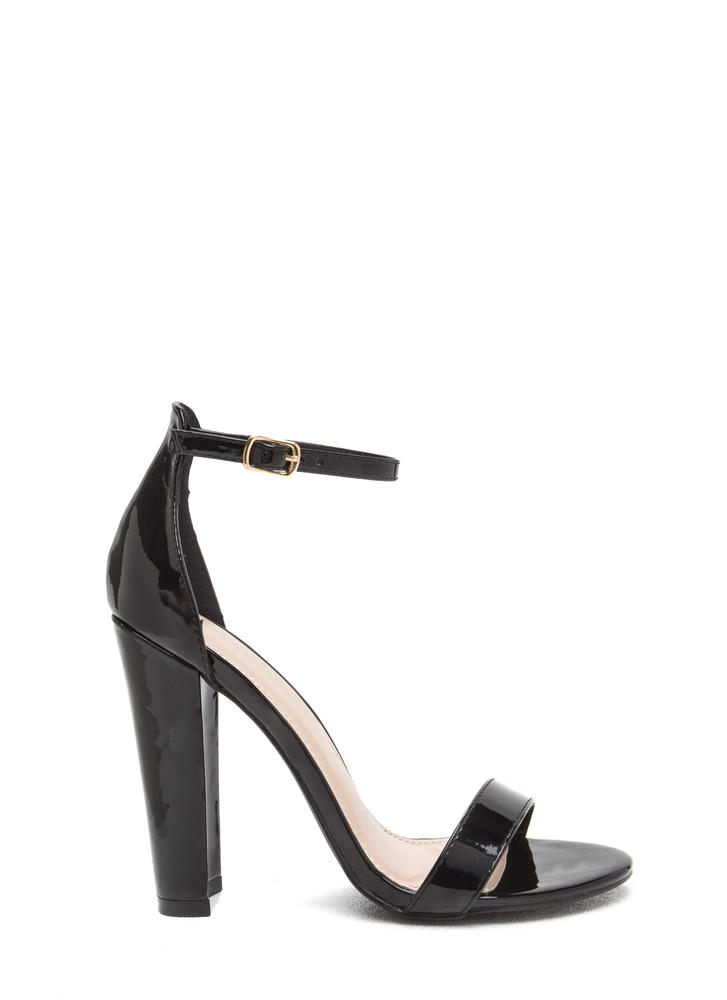 Glossy Pages Faux Patent Chunky Heels