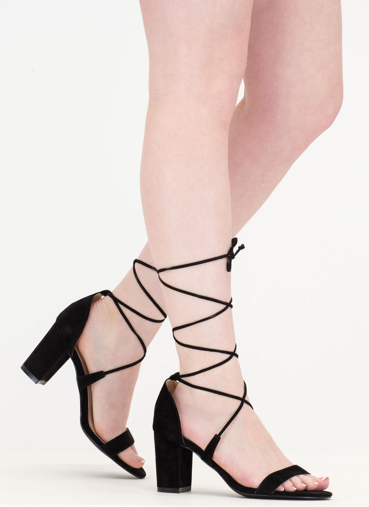 Lace Closed Strappy Block Heels BLACK