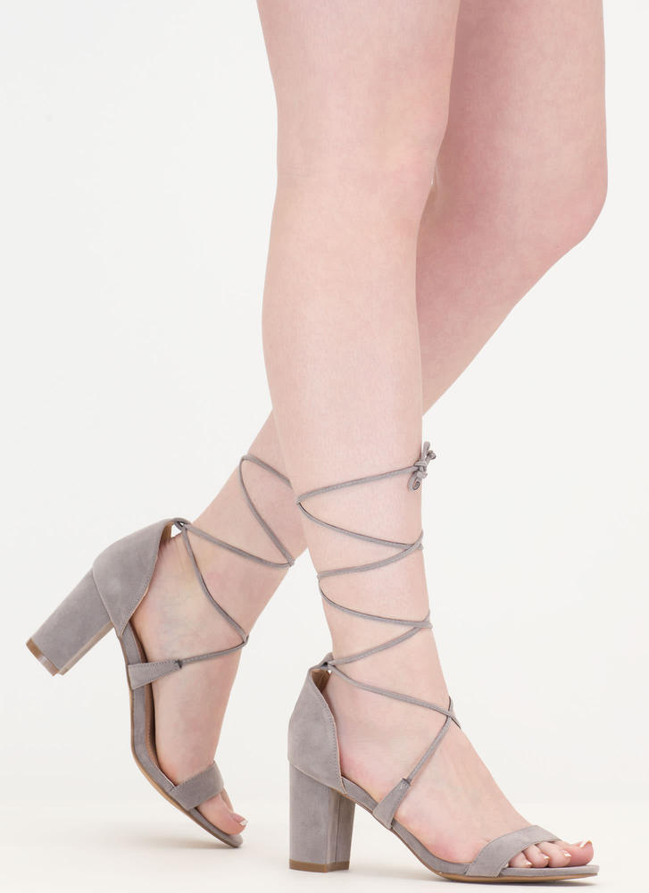 Lace Closed Strappy Block Heels GREY